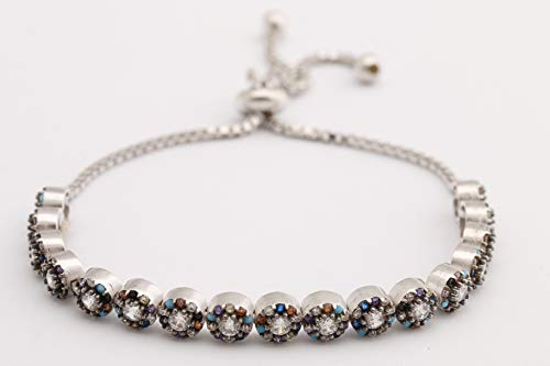 (Special Design Turkish Handmade Jewelry Round Cut Sapphire Turquoise Amethyst Citrine Black Onyx Topaz 925 Sterling Silver Tennis Bracelet)