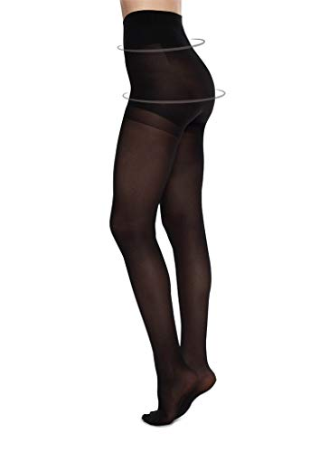 - ANNA CONTROL TOP Stockings High Black Pantyhose - Luxury Nylons for Tummy Support