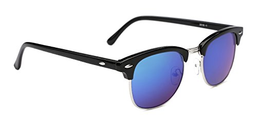 TIJN Acetate Semi-Rimless Clubmaster Sunglasses Horn Rimmed Frame for Men Women ((Black Plastic frame) Blue lens)