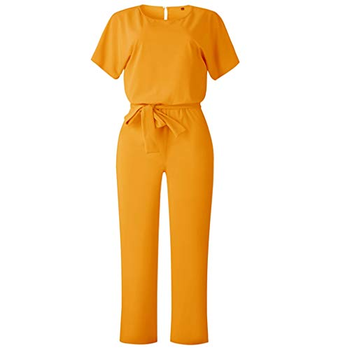 (Fashion Spring Summer Women Jumpsuits Sexy Button Hollow Loose Long Playsuit Lace Up Sashes umpsuit Rompers Clothes Yellow XL)