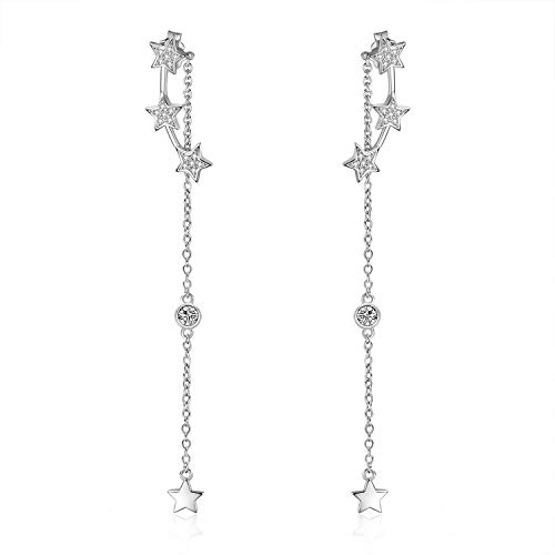 Dangles Climber - LUHE Star Earrings Sterling Silver Stars Front Back Post Earrings Cubic Zirconia Dangle Earrings, Jewelry for Women Girls (Stars Earrings Style 1)