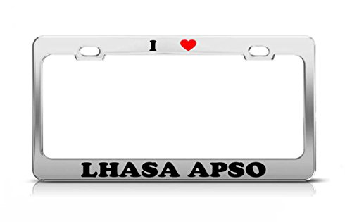 - I HEART LHASA APSO Cat Dog Puppy Metal Auto License Plate Frame Tag Holder