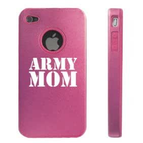 Apple iPhone 4 4S Pink D5851 Aluminum & Silicone Case Cover Army Mom