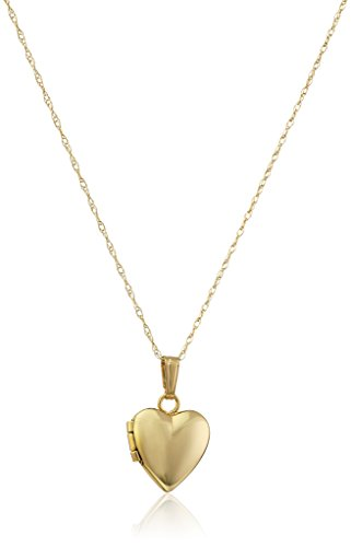 14k Gold Locket - Children's 14k Yellow Gold Small Heart Polished Locket Necklace, 13