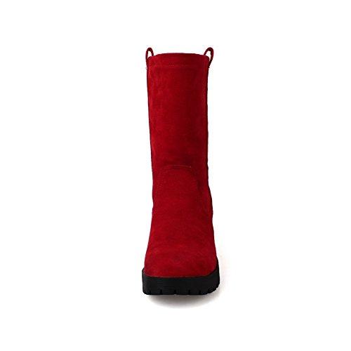 Solid geschlossene Low Zehe Damen poliert Kitten Runde Boots Matt Top Heels AgooLar Rot ZUFBqRwn