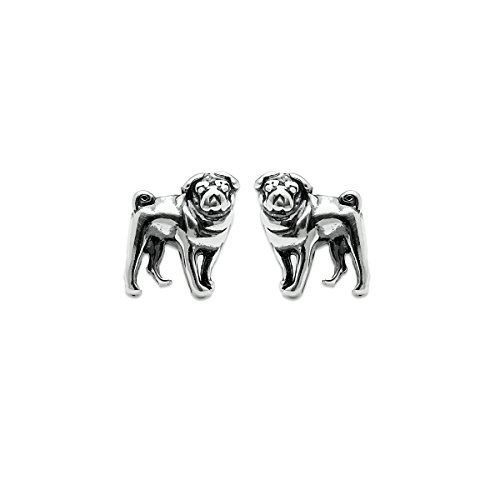 Boma Jewelry Sterling Silver Pug Dog Post Earrings (Silver Sterling Pug)