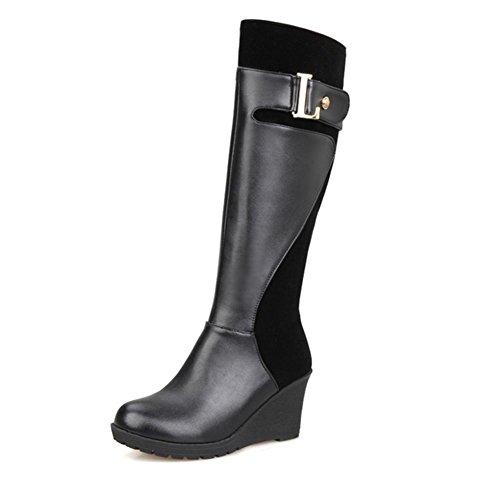 inclinación HFour resistencia cinturón BLACK 41 H Seasons de de botas Negro Women rojo caliente sudor goma talón de hebilla altas al XIAOGANG de desgaste la succión zapatos marrón de 6q5xfHww