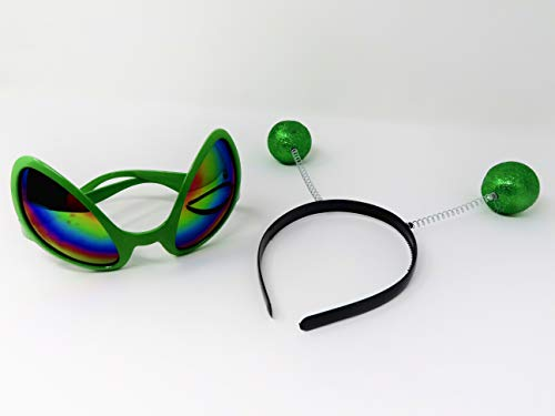 Green Alien Glasses  Martian Headband Set Costume Party Accessory Head Boppers -
