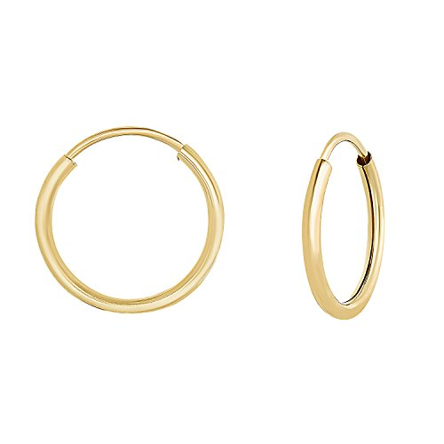 14k Yellow Gold Round Endless Hoop Earrings - 10-18mm (12 Millimeters) ()