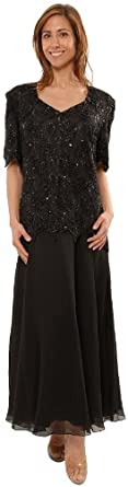 Amazon.com: Great Fitting Chiffon Tea Length Plus Size Dress Black ...