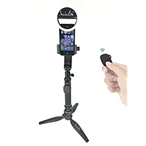 SOCIALITE Mini LED Photo Live Video Tabletop Ring Light Kit, Incl Tripod Stand, Selfie Stick Monopod, Bluetooth Remote, Universal Mounts iPhone 6 6s Plus Samsung & Large Smartphones Portable Dimmable