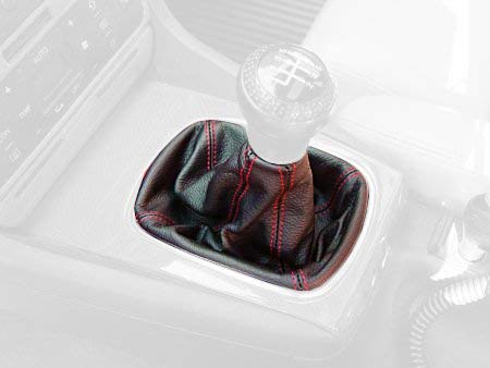 RedlineGoods Shift Boot Compatible with Volvo XC90 2003-13 Black Leather-Silver Thread