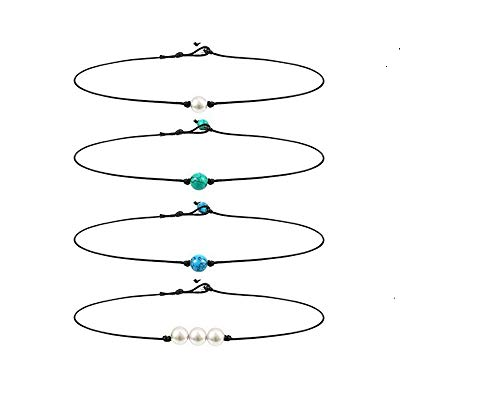 COLORFUL BLING Single Pearl Choker Necklace 3 Pearl Bead Necklace Single Turquoise Choker and Blue Turquoise Necklace on Leather Cord for Women Girl, Totally 4 Pieces