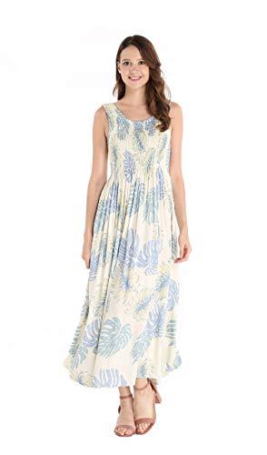 Women's Hawaiian Maxi Tank Elastic Luau Dress in Palm Leaves Cream