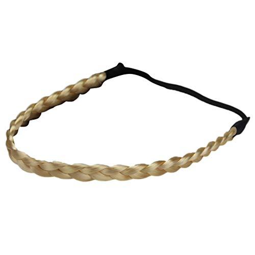 Fashion Headbands, Gloa Women Chemical Fiber Elastic Hairpiece Wig Headband Braided Headwear - Light Golden