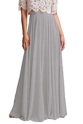 - Omelas Women Long Floor Length Chiffon High Waist Skirt Maxi Bridesmaid Pary Dress (Silver Grey, M)