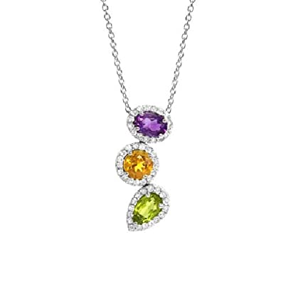 Amethyst, Citrine and Peridot Sterling Silver Pendant 2.65ct TW