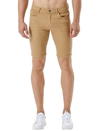 ZLZ Stretch Jean Short for Men, Men's Casual Slim Fit Denim Short (Khaki, 38) ()