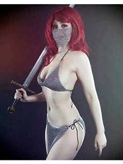 d81786757d422 Bikini chain mail Aluminium halter bra sexy style mask chainmail Skirt