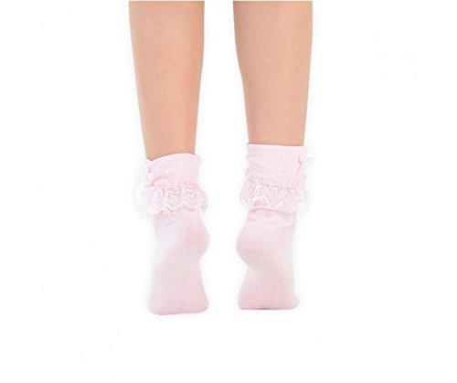 Pour Eesa Socquettes Adam 3 À Froufrous Et amp; Avec Rose Blanc Pink Dentelle Filles Nœud Pairs E55rPAqTx