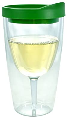 Southern Homewares Insulated Vino Double Wall Acrylic Wine Tumbler with Drink Through Lid
