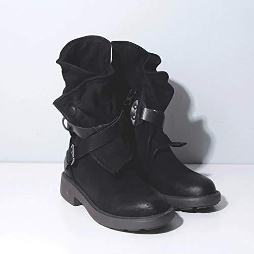 43 Boots Pu Rétro Ceinture D'équitation Femmes Moto Bottes Avec jaune Neige Hongxin Noir Cuir Et Courtes blanc marron nbsp;noir Martin rouge Artificiel Boucle Plissé De 34 7pxHn0X
