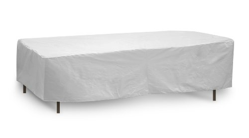 Protective Covers Weatherproof Table Cover, 80 Inch x 84 Inch, Oval/Rectangle Table, Gray