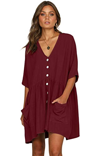 - Wxnow Women's Tunic Tops Babydoll Half Sleeve Casual Loose Dress Button Down Dresses for Women (X-Large, Wine red)