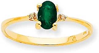10K Gold Genuine Emerald May Birthstone and Diamond Ring (0.016 CTTW, I-J Color, I2 Clarity)