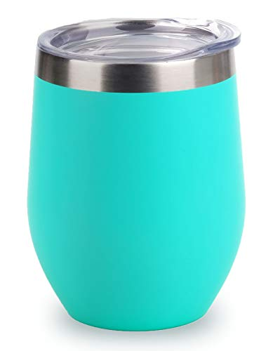 SUNWILL Vacuum Insulated Wine Tumbler with Lid (Teal), Stemless Stainless Steel Insulated Wine Glass 12oz, Double Wall Durable Coffee Mug, for Champaign, Cocktail, Beer, Office use