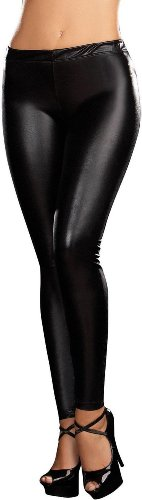 NOBLE MOUNT Women's Black Hi-fashion Liquid Leggings - Large