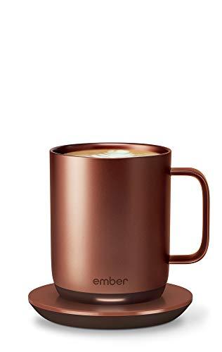 NEW Ember Temperature Control Smart Mug 2, 10 oz, Copper, 1.5-hr Battery Life - App Controlled Heated Coffee Mug - New & Improved Design