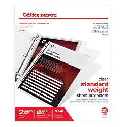 Office Depot Standard Weight Sheet Protectors, 8 1/2in. x 11in, Clear, Pack Of 200, OD491694