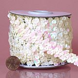 1-1/4'' -  3 Row Metallic Stretch Sequin Trim White iridescent by MJ's Crafts & More