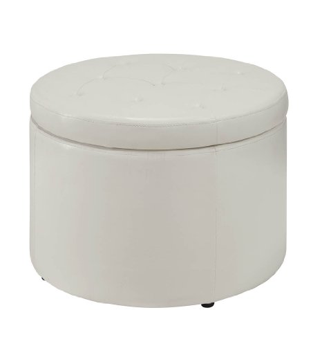 convenience concepts modern round shoe ottoman rich ivory