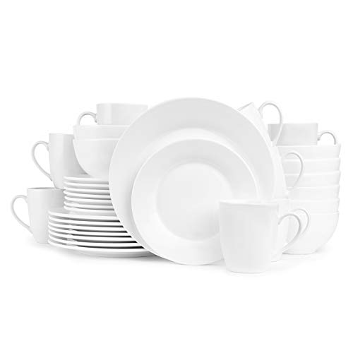 Stone lain Evermore Porcelain White Body Round Dinnerware Set, 32 Pieces Service for 8,