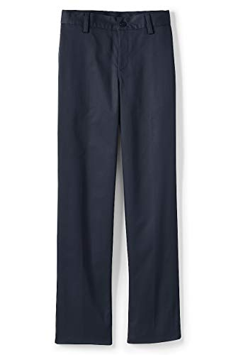 Lands' End School Uniform Boys Iron Knee Blend Plain Front Chino Pants Classic Navy