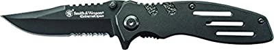 Smith & Wesson SWA24S 7.1in Stainless Steel Folding Knife with 3.1in Clip Point Serrated Blade and Aluminum Handle for Outdoor Tactical Survival and Everyday Carry