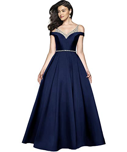 YGSY Women's Cold Shoulder V Neck A-line Pleated Satin Evening Prom Dress Long Formal Gown with Ruched Skirt Extra Fee Navy Blue ()