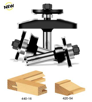 Timberline TRS-230 Shaker Raised Panel 1/2 Shank Door Making Router Bit Set with Back Cutter, 3-Piece