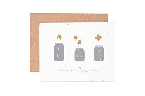 Ruff House Art Mason Jar Happy Birthday Wildflower Seeded Letterpress Greeting Card Box Set ()