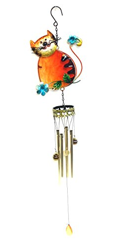 Bejeweled Display® Kitty Cat Shape w/ Stained Glass Wind Chimes Tubes