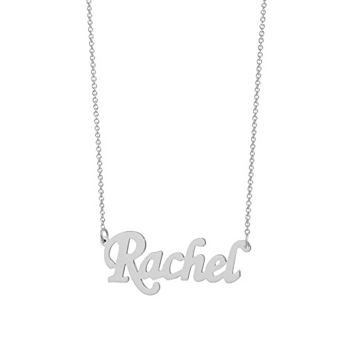 Soul Jewelry 14k White Gold Personalized Dainty Small 1 Inch Monogram Script Name Charm Necklace ()