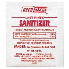 ** Beer Clean Last Rinse Glass Sanitizer, Powder, .25oz Packet, 100/Carton **
