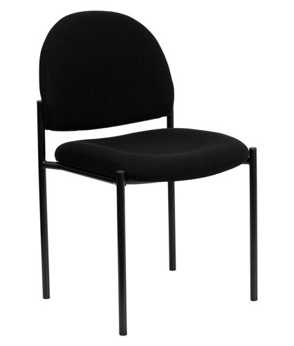 Offex OF-BT-515-1-BK-GG Fabric Comfortable Stackable Steel Side Chair, Black