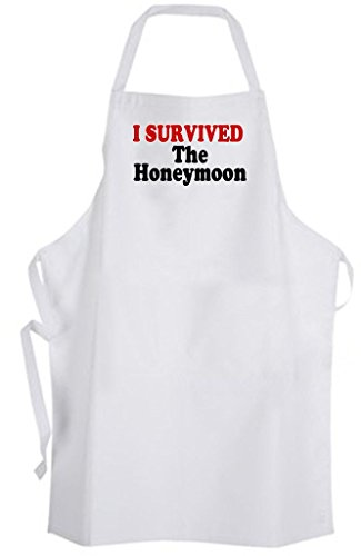I Survived The Honeymoon – Adult Size Apron – Wedding Marriage Bride Groom by Aprons365