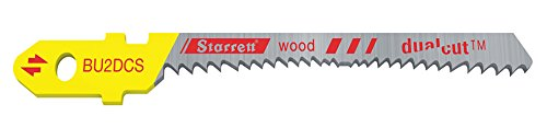 Starrett BU2DCS-2 Bi-Metal Unique Unified Shank Dual Cut Wood Cutting Jig Saw Blade, scroll Tooth, 0.050