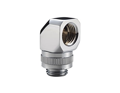 Phanteks 90 Degree Angle Rotary Fitting Adapter G 1/4 Thread Male to Female Rotatable 360 Degree Viton O-Rings - Chrome Cooling PH-RA90_CR_G1/4