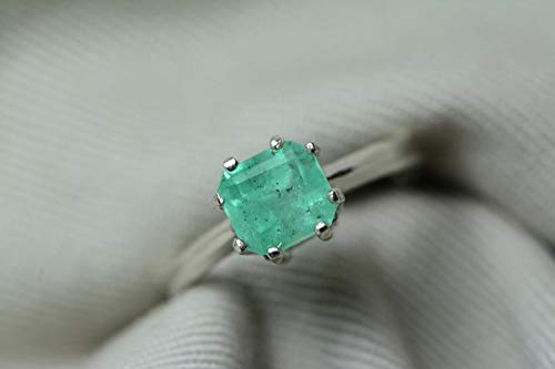Certified 1.53 Carat Emerald Ring, Colombian Emerald Solitaire Sterling Silver Genuine Real Natural Princess Cut May Birthstone Jewelry er18 (1.53 Ct Natural)