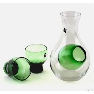 Happy Sales HSSS-GLG13, Green 3 Piece Glass Cold Sake Set - Glass Sake Bottle